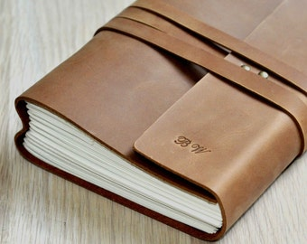 Handmade Leather journal,  Personalized journal,Leather Sketchbook,travel journal,Custom journal for him (Free stamp)