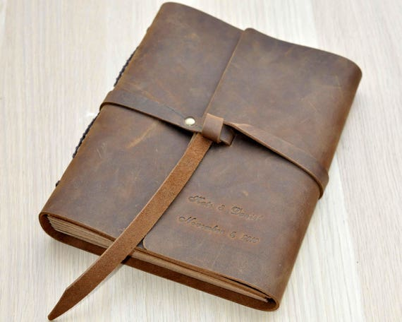 A4 SIZE Personalized Leather Wedding Guestbook Rustic Leather Guest Book