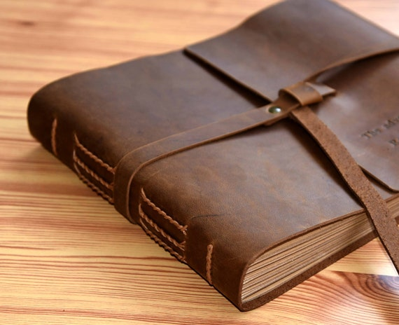 Personalized Leather Photo Album Custom Wedding Guest Book Adventures Book For Anniversary