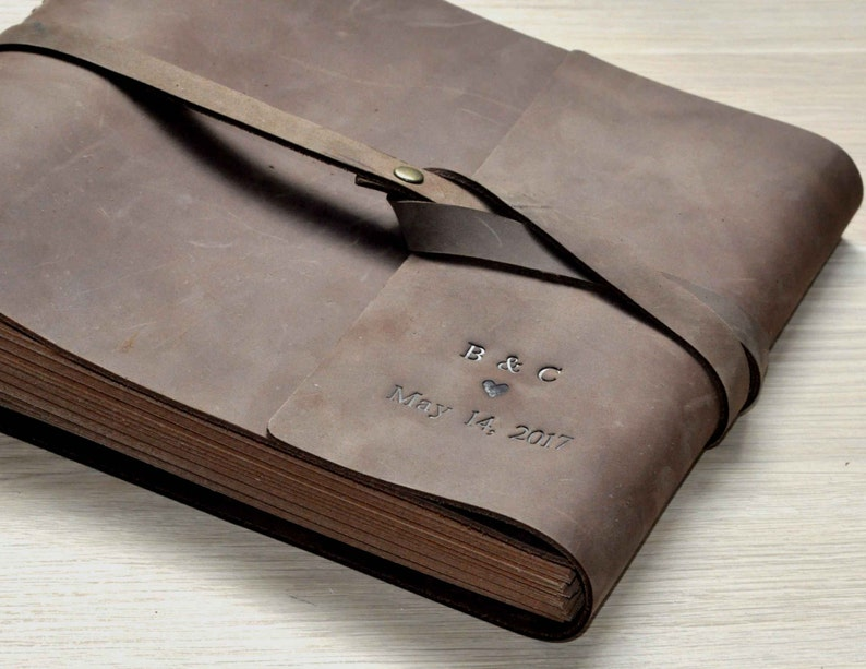 Vintage Photo Album. Wedding Guest Book. Leather Bound image 0