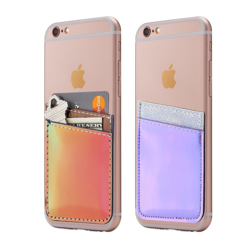 promo code 24cfc 2a2bd Two Iridescent Cell Phone Stick On Wallet Card Holder Phone Pocket For  iPhone, Android and all smartphones