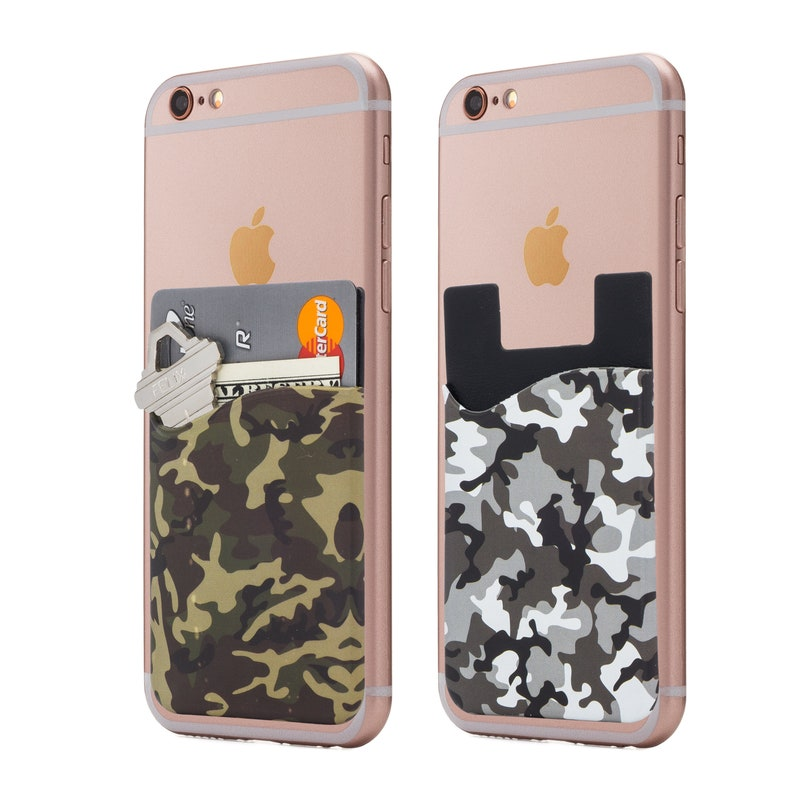 new style 809dc 2e9c0 Camo Cell Phone Stick On Wallet Card Holder Phone Pocket for IPhone,  Android and All Smartphones