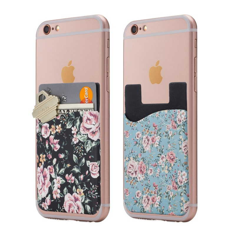 best website 1fb95 0517b Floral Cell Phone Stick On Wallet Card Holder Phone Pocket for IPhone,  Android and All Smartphones