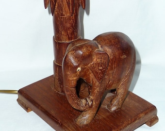 Wooden Elephant Lamp Base, Wood Carved Elephant Table Lamp, Wooden Elephant
