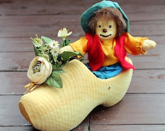 Vintage Porcelain Clown Sitting in Wooden Clog, Ceramic Clown, Collectible Home Decor