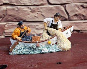 Vintage Old Sea Fisherman in Boat, Fishing Ship, Nautical Ceramic Statue Figure, Figurine, Beach Decor