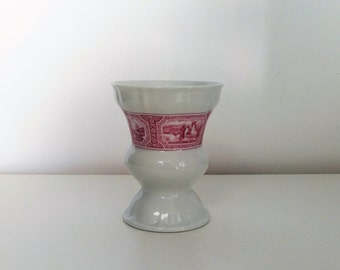 Heinrich West Germany White And Red Vase - collectible German Pottery , Rüdesheimer cup Heinrich porcelain , Vintage rudesheimer