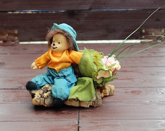 Vintage Porcelain Clown Sitting on Wooden Tree Branch, Ceramic Clown, Collectible Home Decor