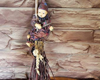 Vintage Porcelain Clown Sitting on Wooden Broom, Ceramic Clown, Collectible Home Decor