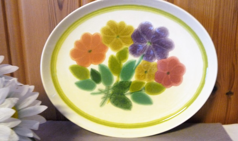 Floral Plate Farmhouse Kitchen English Serving Tray Vintage Franciscan Pottery England Ceramic Platter Retro Flowers