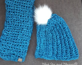 Super Blue Crochet Slouchy Hat Scarf Set Soft and Warm