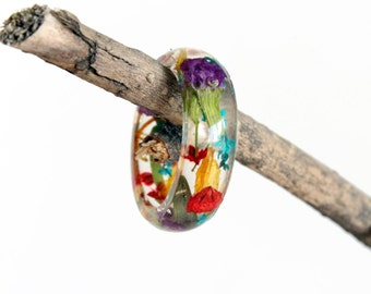 Real Flower Ring, Resin Ring, Nature Ring, Flower Jewelry, Flower Ring, Fairy Ring, Multicolor, Pressed Flower Jewelry, Girlfriend Gift, Her