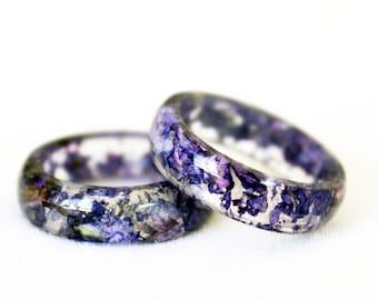 Purple Wildflower Ring, Real Flower Ring, Resin Ring, Purple Ring, Wildflower Jewelry, Dried Flowers, Resin Jewelry, Violet Ring, Boho Ring