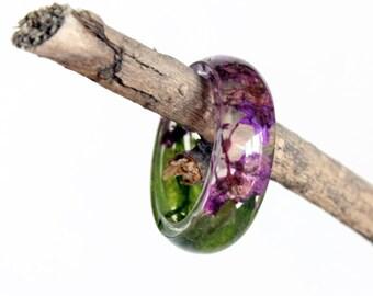 Alyssum Flower Ring, Resin Ring, Ultra Violet Ring, Resin Jewelry, Nature Ring, Real Flower Jewelry, Pressed Flowers, Boho, Girlfriend Gift