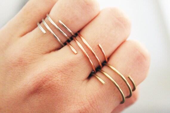 Draht Ringe Sterling Silberring Kupferring Goldring | Etsy