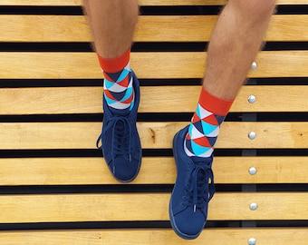 Triangle cool mens socks, funny socks, gift for boyfriend, pattern socks men, unique socks, geometric socks, mens colorful socks, funky sock