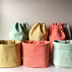 Portable makeup storage bag, toiletry case, organic canvas eco-friendly fabric bin with numerous internal pockets