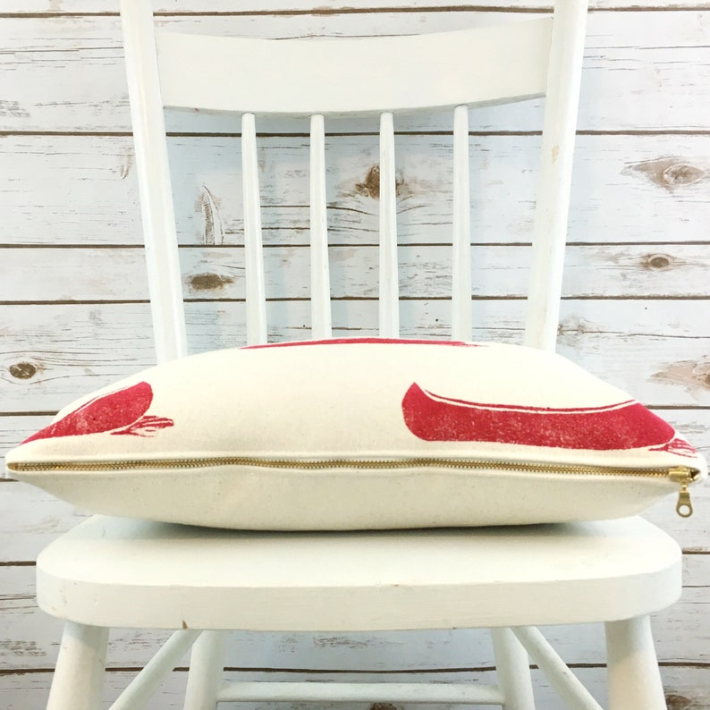 cottage decor lake house 11x17 handprinted and one of a kind Indooroutdoor organic canvas cushion cover