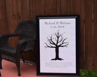 Wedding Thumbprint Tree Canvas Print. Guest Book Alternative.