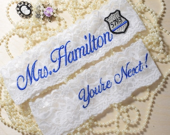 Wedding Garter, Thin Blue Line,Something Blue, Garter Set Keepsake & Toss, or Toss ONLY