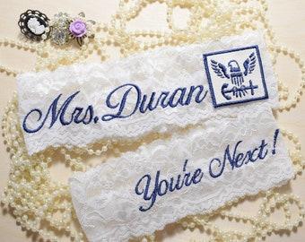 Military Wedding Garters, Navy Wedding Garter Set, Wedding Garters, Personalized Wedding Navy Garter Set, Garters, NEW ITEM