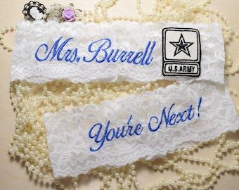 Military Wedding Garters, Army Wedding Garter Set, Wedding Garters, Personalized Wedding Army Garter Set, Garters, Bridal Gift NEW ITEM