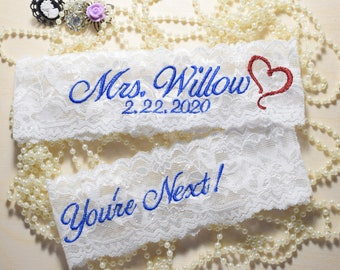 Wedding Garter, Personalized Wedding Garter set with date and red heart,  You're Next or Nice Catch Toss, White, Ivory.
