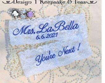 Wedding Garters, Personalized, Name & Date Keepsake, Toss Garter, I will not put your name on the toss garter.