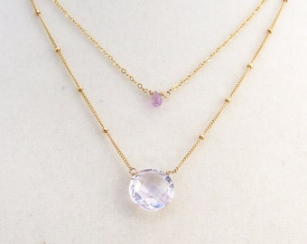 Pink Amethyst necklace with sapphire, goldfilled, two in one, two chains, layering look