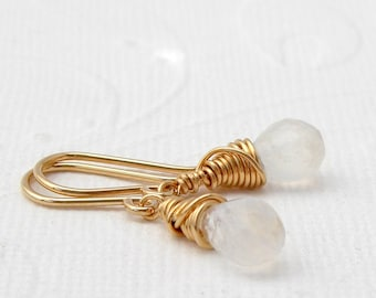 Small Moonstone Earrings Gilded, roségoldfilled, sterling silver