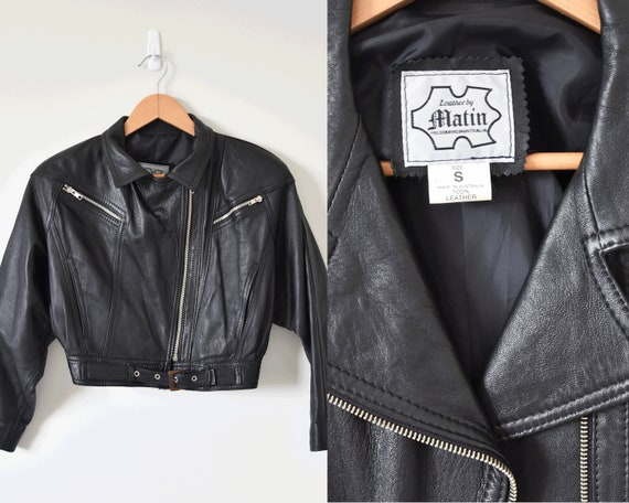 Leather By Martin Small Cropped Motorcycle Jacket/ Black Leather Corset Tie Up Vintage Crop Jacket by Etsy