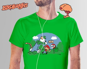 Silly Plumbers - Calvin and Hobbes Mario T-Shirt, Calvin Hobbes Shirt, Mario T-Shirt, Mario and Luigi Shirt, Calvin Hobbes Mario Tee