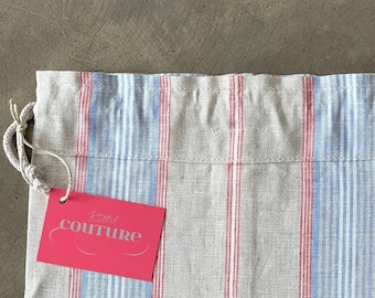 Premium bread bag made of beige linen with white, red and blue stripes