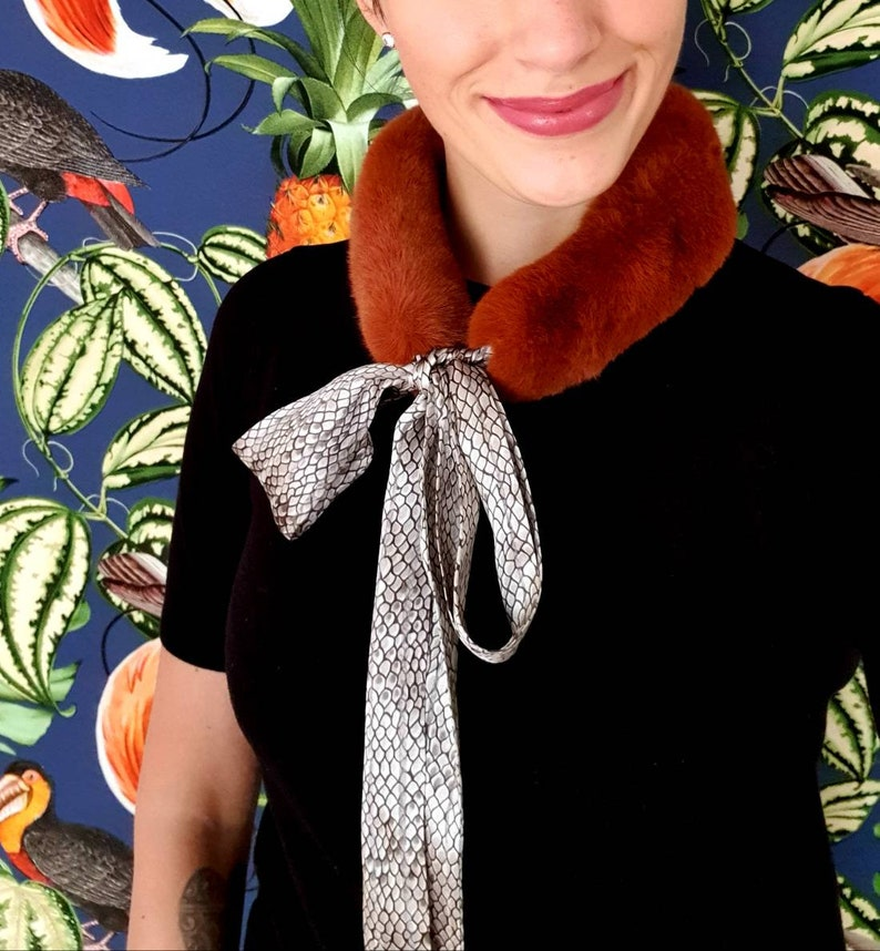 Rust-brown woven fur collar with silk scarf with snake pattern image 0