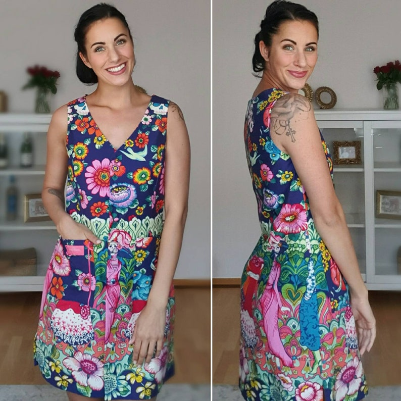 Colorful summer dress in Frieda Kahlo style image 0