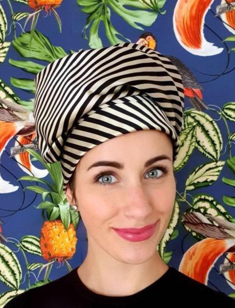 Silk turban black gold striped image 0