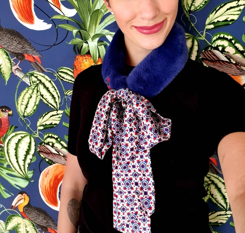 Steel blue woven fur collar with blue/red patterned silk scarf image 0