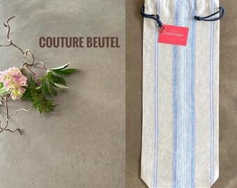 Baguette bag made of German linen, beige, blue, white, striped