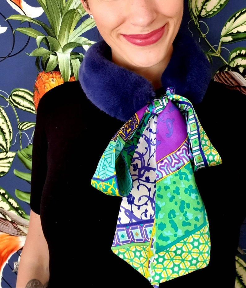 Steel blue woven fur collar with silk scarf in colorful image 0