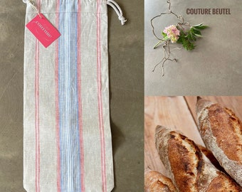 Baguette bag made of German linen, beige with red, blue and white stripes