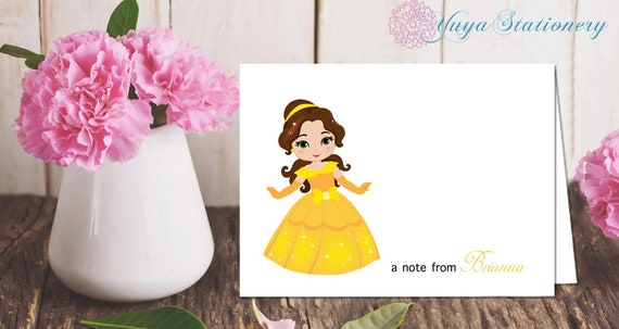 Fairy tale princess Notes  Custom  princess Stationery  Girl Stationery Set  Girl Thank You Cards  Set of 12 Kid Notes