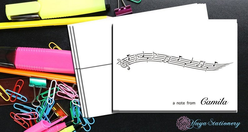 music notes Note Card  Custom music Stationery  music teacher Stationery Set  Set of 12 Notes