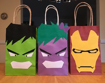 Marvel favor bags, hulk party bags, ironman goody bag, she hulk birthday bag, superhero bags, set of 12