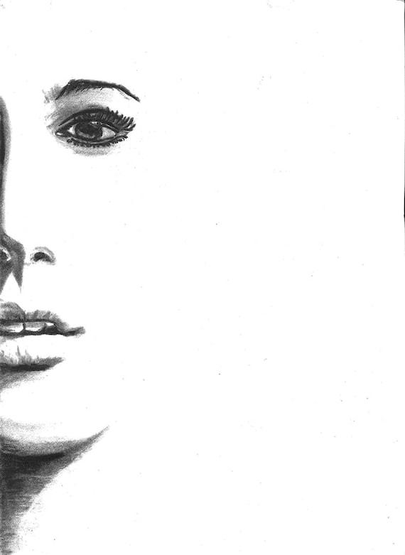 Femme Moitié Visage Fusain Crayon Portriat Dessin Impression Affiche Fine Art Décoration Murale