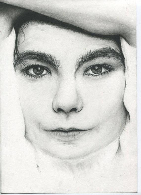 Bjork Noir Et Blanc Fusain Crayon Dessin Visage Portrait Fan Art Impression Affiche Murale Décor