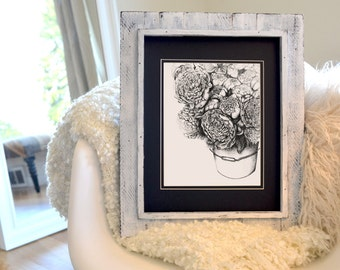 Market Peonies Freehand Ink Drawing Signed, Numbered, Limited Edition Print