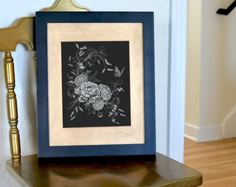 Floral Composition - Freehand Ink Drawing, Signed, Numbered, Limited Edition Giclee Print on Fine Art paper