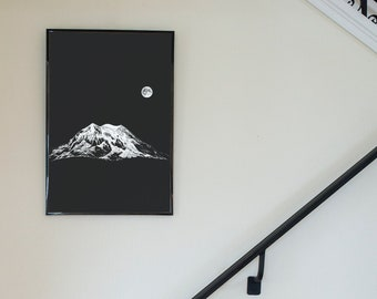 Moonlit Mountain - Mt Rainier - Freehand Ink Drawing, Signed, Numbered, Limited Edition Giclee Print on Fine Art paper