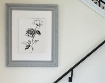 Roses Freehand Ink Drawing Signed, Numbered, Limited Edition Print