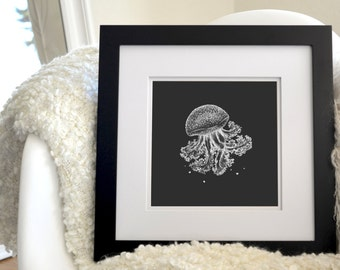 """Jellyfish Inverted Freehand Ink Drawing Limited Edition Print, Signed Numbered 8"""" x 8"""""""